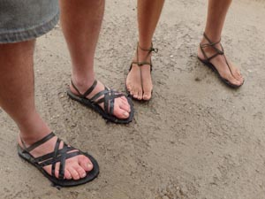 Hand-made tire sandals.